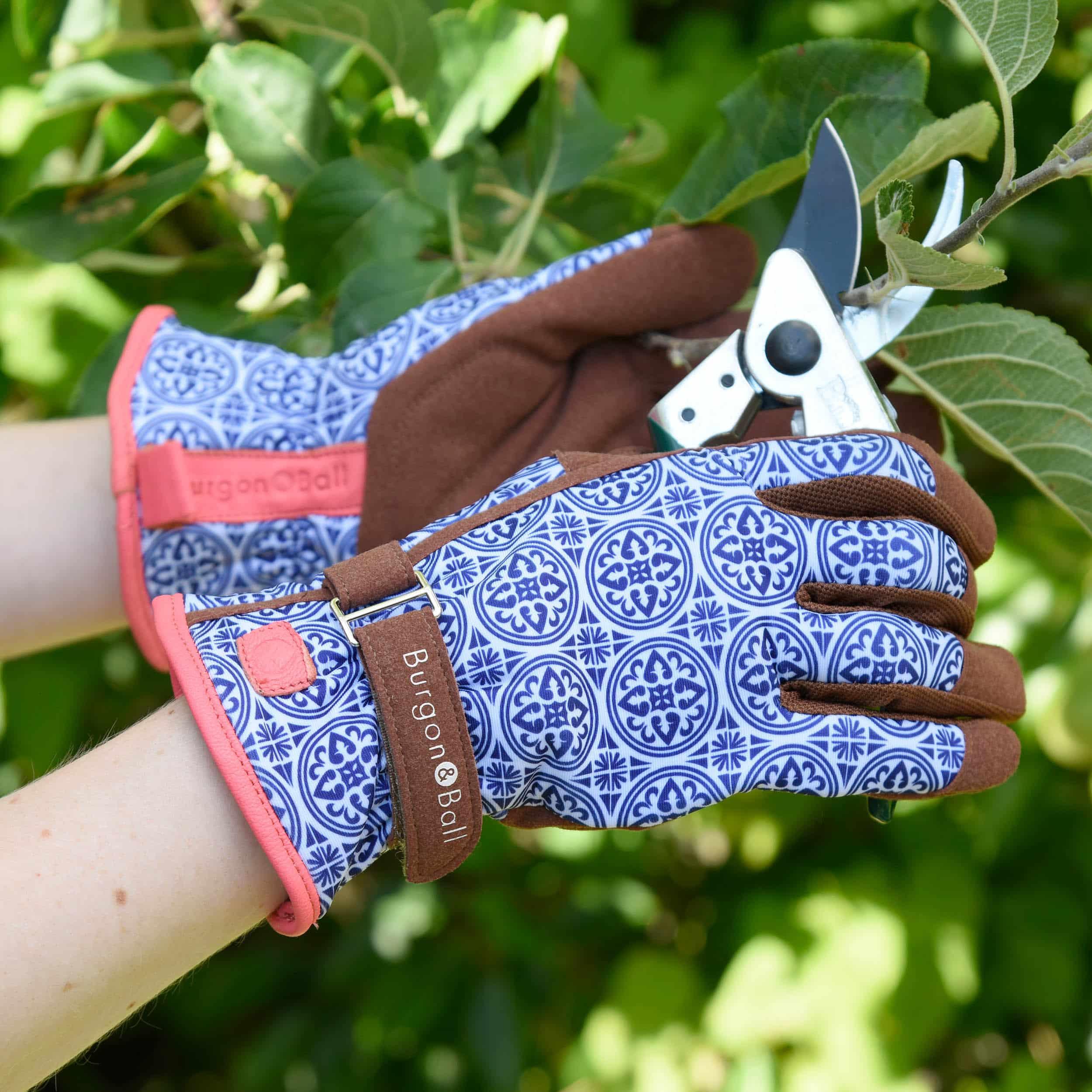 Gartenhandschuhe für Damen blau-weiß