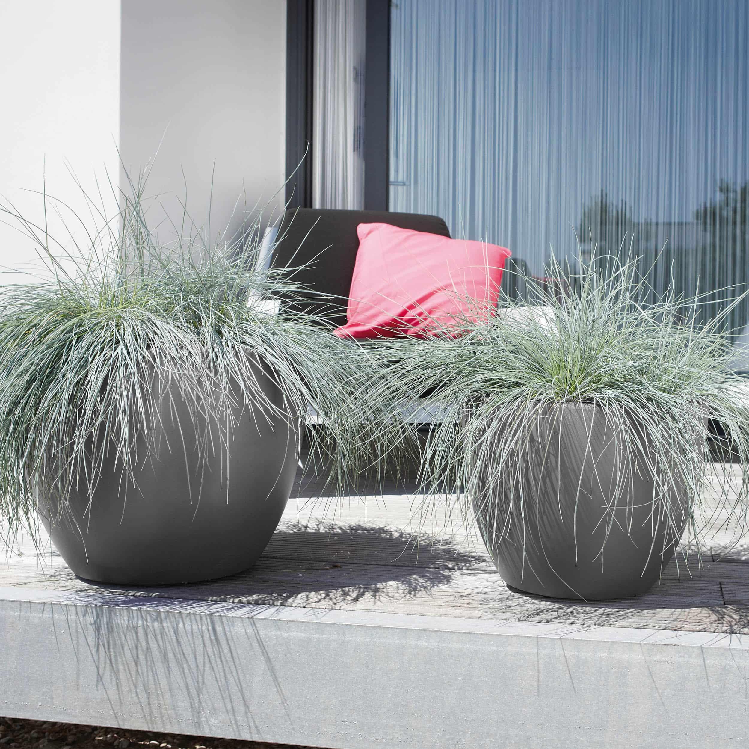 Blumenkübel Pure Soft Round mit Rollen D50cm anthrazit