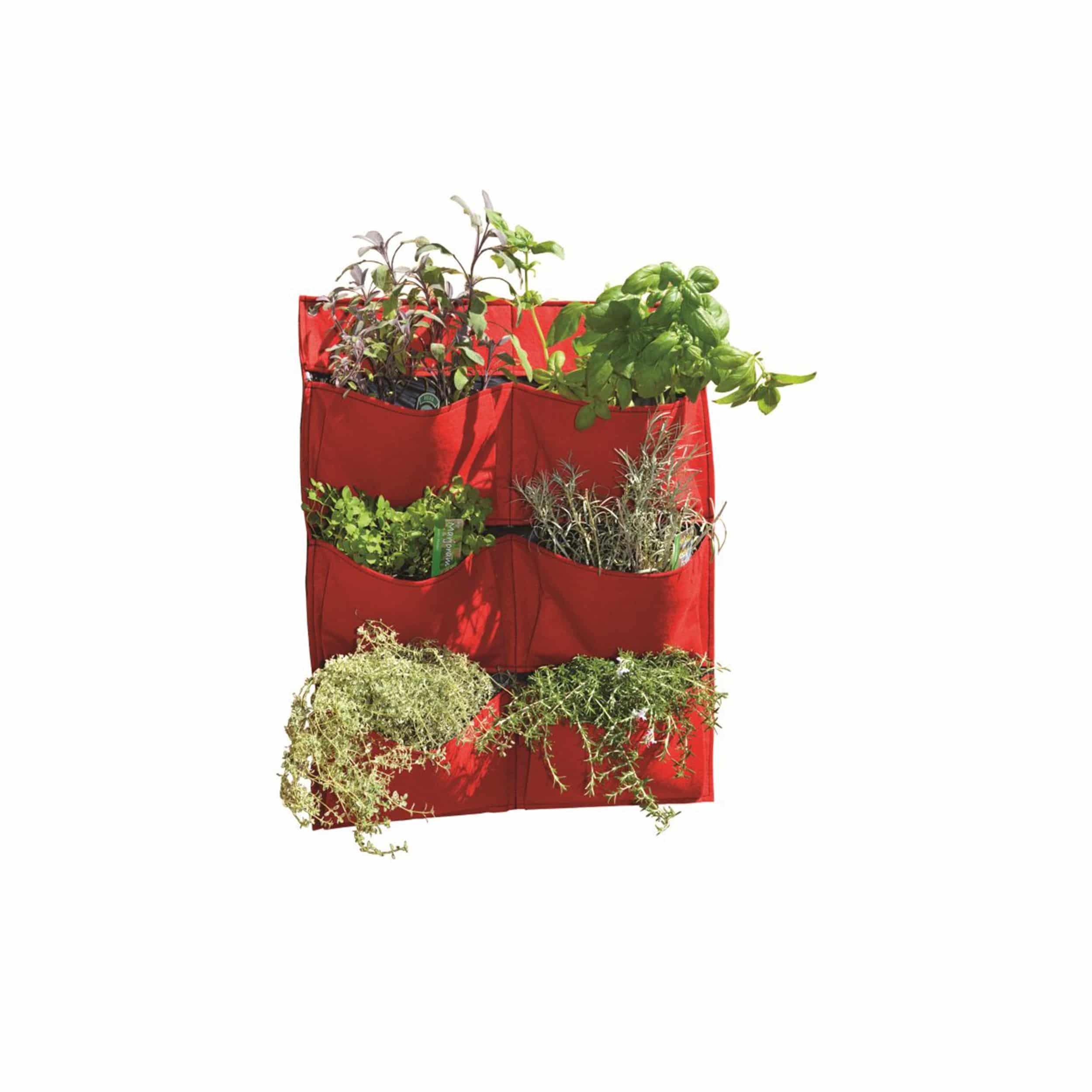 Pflanztasche Living Wall mit 6 Pflanztaschen H70cm rot