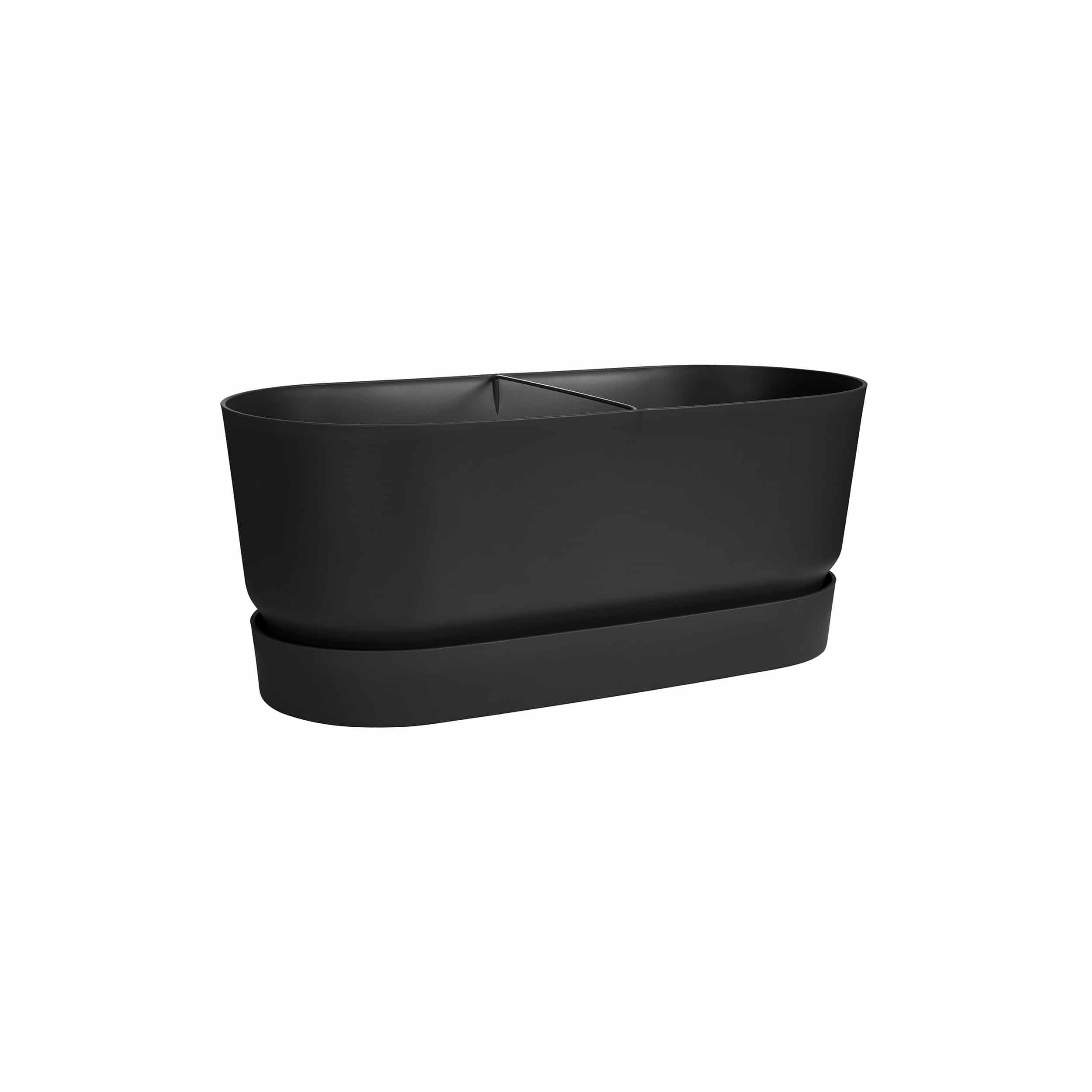 Design-Pflanzgefäß Greenville 60 cm mit Rollen lebhaft schwarz