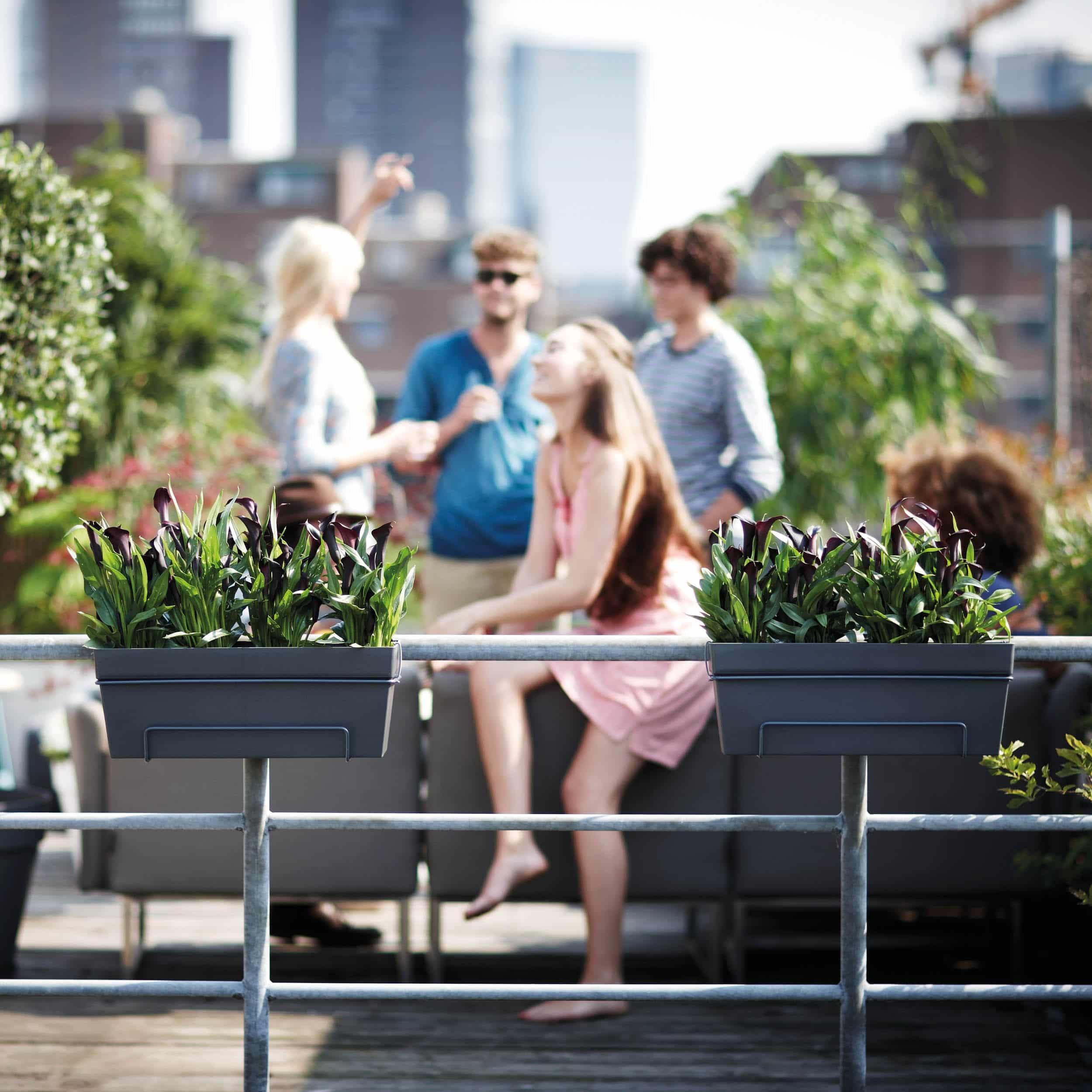 Blumenkasten-Set Loft Urban All-in-One L50cm anthrazit
