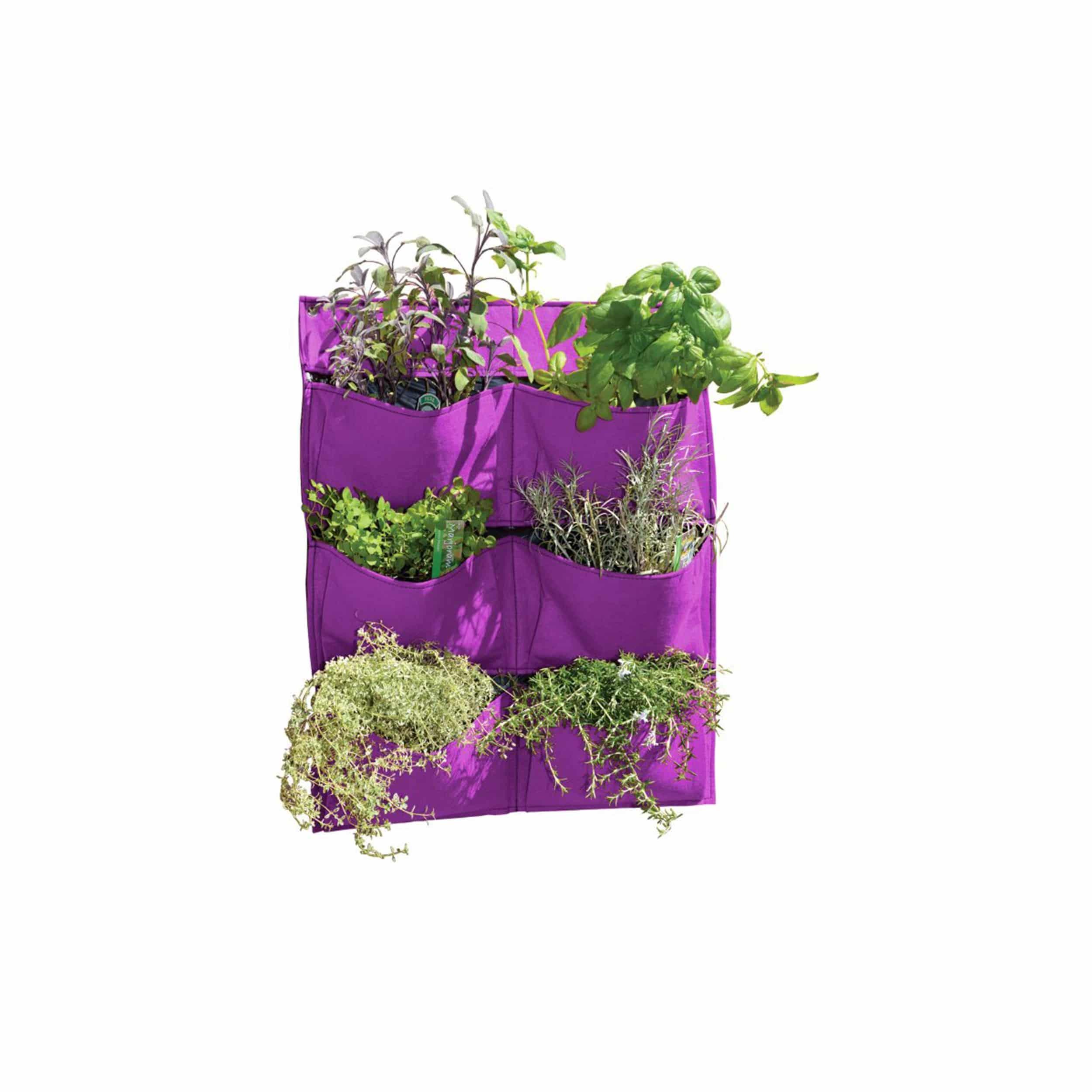 Pflanztasche Living Wall mit 6 Pflanztaschen H70cm lila